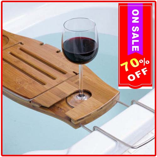 100% Eco-friendly Bamboo Materials Bathtub Caddy…Only $9.90