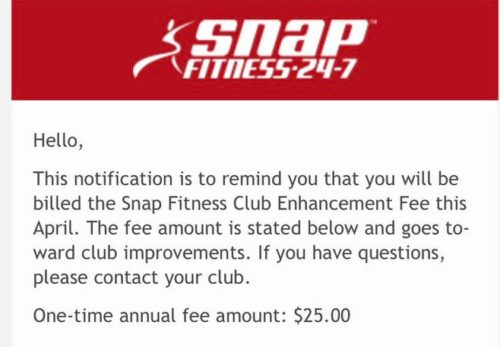 Snap Fitness: Class action lawsuit over club enhancement fees.